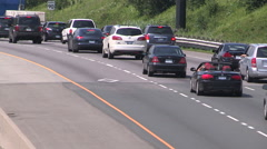 Traffic jam chaos gridlock congestion due to new HOV transit lanes on highway Stock Footage