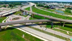Scenic Aerial of Brand New Highway Interchange With Overpasses, Roundabouts - stock footage
