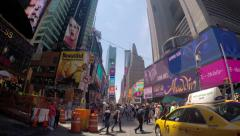 People Crossing Busy Street at Times Square 4K Stock Footage