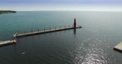 Beautiful Aerial Fly-Over Algoma Wisconsin Lighthouse, Harbor on Lake Stock Footage