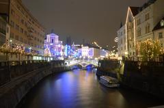 Ljubljana Trimostovje (Triple Bridge) New Year - stock photo