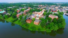 Beautiful Morning Aerial Over St. Norbert College, De Pere, Wisconsin Stock Footage
