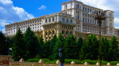Romanian Parliament or People's House in Bucharest, Romania.Time lapse,Side view Stock Footage