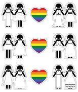 Lesbian brides icon set with rainbow element - stock illustration