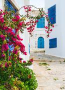 Street of Sidi bou Said in Tunisia - stock photo