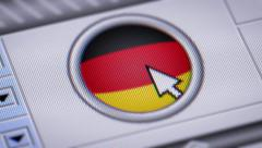 Press button with flag of Germany. Stock Footage