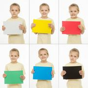 Collage of six portraits girls with different colored monochromatic cards Stock Photos