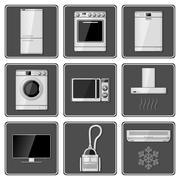 Set of realistic household appliances. - stock illustration
