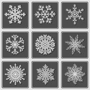Set of beautiful paper snowflakes. - stock illustration