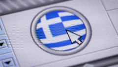 Press button with flag of Greece. - stock footage