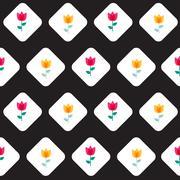 Paper Trendy Flat Flower Seamless Pattern Vector Illustration Stock Illustration