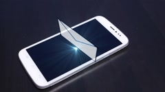 Hologram of Message on Smart Phone. Futuristic Technology Stock Footage