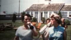 1959 - Women Taking Booze Bottles From Hotel - stock footage
