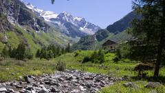 Alpine landscape with brook and waterfalls , summer, pan Stock Footage