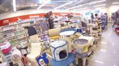 Shopping for new cat tree, furniture, house at pet store Stock Footage