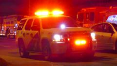 4K UHD - EMS supervisor vehicle with powerful strobe lights Stock Footage