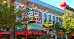 4K Don Mee Restaurant, famous restaurant store front in Chinatown in Victoria BC Stock Footage
