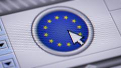Press button with flag of E.U. Stock Footage