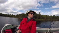 Fisherman self view on boat Stock Footage