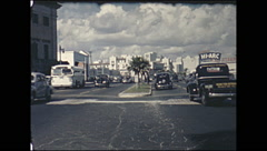 Vintage 16mm film, Miami 1946, Miami traffic centre median Stock Footage