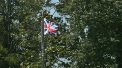 3784 English Flag Colony Union Jack Flag Flying in Wind In Slow Motion, 4K Stock Footage