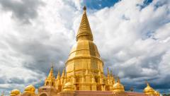 Golden Pagoda Sri Vieng Chai Of Lamphun, Thailand (Hyper Time Lapse) Stock Footage