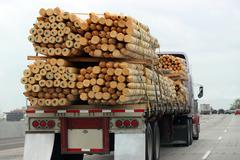 Truck transporting wood Stock Photos