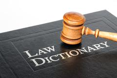 Law dictionary and gavel on white background Stock Photos