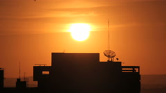 Sunset the silhouette building time lapse 4K Stock Footage