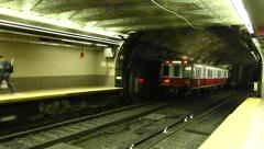 Boston subway train arriving Stock Footage