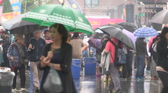 Rain wind and storm weather at Chinese open market in Markham Stock Footage