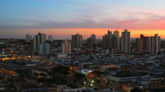 4K Sunset. City view. Piracicaba, Sao Paulo, Brazil.Time lapse Stock Footage