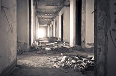 Inside of old abandoned building with construction unfinished Stock Photos