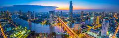 Landscape of river in Bangkok cityscape in night time - stock photo