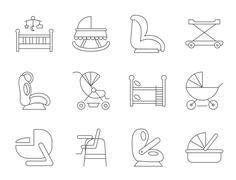 Baby furniture - stock illustration