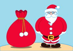 Santa claus and a gift bag, Pattern Stock Illustration