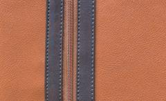 Brown leather texture and zipper background Stock Photos