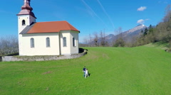 Small church on countryside from air Stock Footage