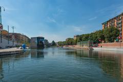 MILAN, ITALY - JUNE 26, 2015:  The Darsena (a fleet of Milan) after restructu Stock Photos