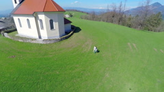 Air view on a beautiful church Stock Footage