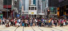 Busy crosswalk in Central, Hong Kong - stock photo