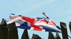 3795 English Flag Colony Union Jack Flag Flying in Wind in Slow Motion Stock Footage