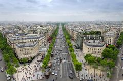 View of the Champs Elysees from the Arc de Triomphe in Paris Stock Photos