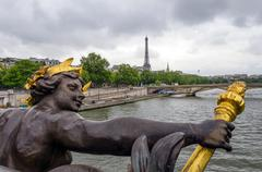 Stock Photo of Pont Alexandre III across the River Seine with Eiffel Tower
