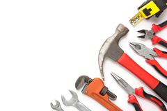 mechanical kit in wooden background. construction tool with a copy space - stock photo