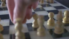 4K Moving Pawn Chess Wooden Game Panning Stock Footage