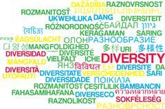 Diversity multilanguage wordcloud background concept Stock Illustration
