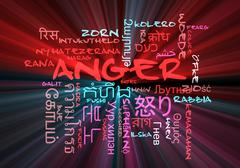 Anger multilanguage wordcloud background concept glowing Stock Illustration