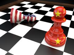 USA China Chess geopolitics global politics war currency - stock illustration