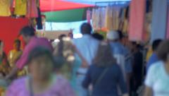 Outdoor Market in San Miguel de Allende Mexico with crowds of people Stock Footage